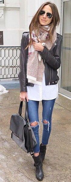 Jeans, white shirt, black leather jacket, plaid scarf, black bag, black booties ☑️