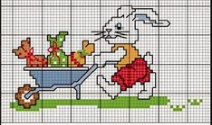 Coelhos Simple Cross Stitch, Cross Stitch Cards, Cross Stitch Embroidery, Cross Stitch Patterns, Chicken Cross Stitch, Minnie Baby, Easter Cross, Easter Bunny, Free Printables