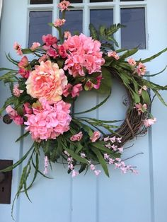 Pink Hydrangea Spring/Summer Wreath for Door. Create Beautiful Curb Appeal!