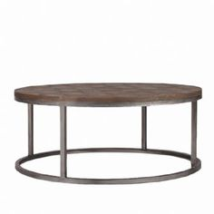 Colby Coffee Table, recycled elm & metal round coffee table with patterned elm top