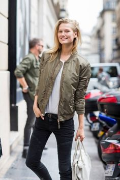 bomber time. #ToniGarrn looking fab #offduty in Paris.