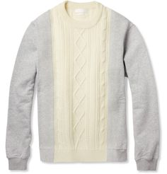 Alexander McQueen Aran-Knit Wool and Cotton-Jersey Sweater | MR PORTER