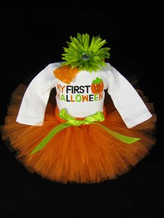 "Babys First Halloween Outfit  "" My First Halloween "" - Girls Halloween Tutu Bodysuit and Headband Set - Size Newborn on Etsy, $38.00"