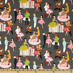 Michael Miller Fabric  Prom in Grey  Retro by BelloBerryFabricShop, $8.25