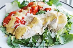 Clean Eating Idea: chicken-tomato-parmesan salad with honey dijon dressing (yum!) #cleaneating #eatclean #healthyrecipe