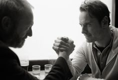 Michael Fassbender and Liam Cunningham on set of the short 'Pitch Black Heist'