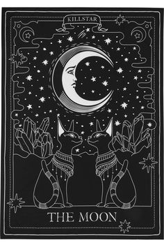 dark art THE MOON. Purr to the moon - and back.- Size 225 cm x 150 cm / x Complete your crypt in style with this tarot inspired tapestry; The Moon evokes some purr magical vibes with a decorative large-scale print. P Inspiration Art, Art Inspo, Travel Inspiration, Stars And Moon, To The Moon, Full Moon, Moon Tapestry, Witch Aesthetic, Aesthetic Makeup