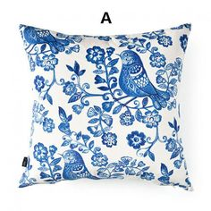 Flower Bird throw pillow Blue and white porcelain series cushions 18 inch