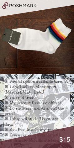 BNWT Brandy Melville Rainbow Socks 🌈 BNWT. Comes with Brandy jewelry/accessories as well as stickers. Price firm. Brandy Melville Accessories Hosiery & Socks