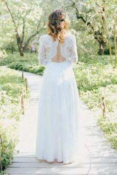 Scoop-Neck Illusion 3-4-Sleeve Sheath Wedding Dress-714937
