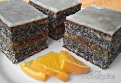 Narancsos bögrés mákos, very easy to make 1-1 cup of poppy seeds, sugar, flour and milk, 2 eggs, 1/2 cup oil, 1 vanillin and 1 pack of baking powder... enjoy it Hungarian Desserts, Hungarian Cake, Hungarian Recipes, Cookie Recipes, Dessert Recipes, Croatian Recipes, Salty Snacks, Cake Bars, Sweet Cakes