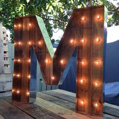 Marquee Letter. Vintage Letter. Pallet wood. Wood letter. M lights