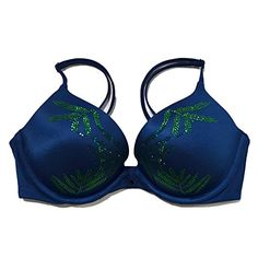 Victorias Secret Bra Very Sexy Padded Bling 32B Blue Leaves -- Click image to review more details.