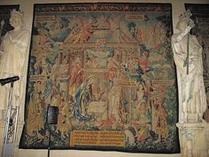 16th cent.Tapestry of the Nativity in the nave of the cathedral of Strasbourg, France.