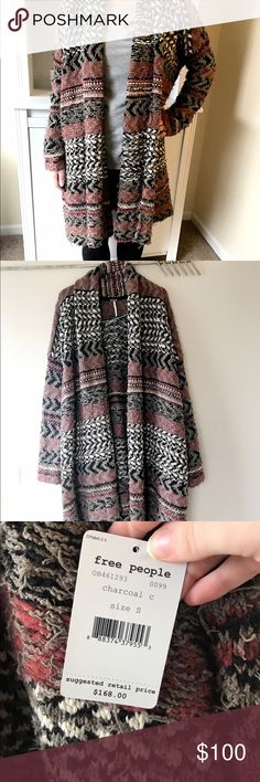 NWT Free People Cozy Open Front Sweater/Robe Gorgeous free People sweater or robe! Large oversized tribal print and this comes with a tie that you can either use to make it more like a robe or not use as I did in the stock photos to look like an open front Sweater. I love this! BRAND NEW WITH TAGS! [im a size small and I am the model in the stock photos, so you can see that this should also fit larger sizes too] Free People Sweaters Cardigans