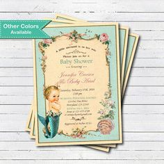 Mermaid baby shower invitation. Vintage pink and by CrazyLime
