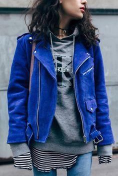 Top: tumblr hoodie grey hoodie calvin klein jacket blue jacket suede suede jacket striped denim