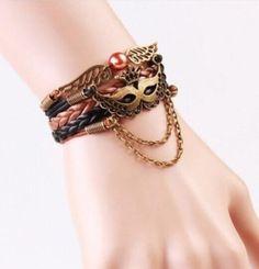 Leather Brown Mask Wrap Wristband Cuff Infinity Charm Bracelet Bangle 144 #Handmade #Friendship
