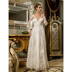 Sheath/Column V-neck Floor-length Tulle And Lace And Chiffon Weddimg Dress – GBP £ 129.43