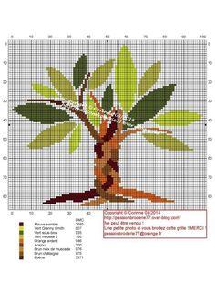 Tronc tressé Cross Stitch Tree, Cross Stitch Borders, Cross Stitch Flowers, Cross Stitch Charts, Cross Stitching, Cross Stitch Geometric, Modern Cross Stitch Patterns, Knitting Charts, Knitting Patterns