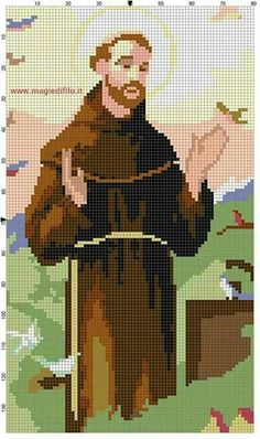 Arguably the most universally well known saint, St. Francis of Assisi, who bore the stigmata in his last yrs.Clare fashioned sandals with holes in the soles where his wounds were. Appreciate finding this. Religion, Cross Stitching, Cross Stitch Embroidery, Religious Cross Stitch Patterns, Free Cross Stitch Charts, Cross Stitch Pictures, Crochet Cross, Needlepoint Patterns, Cross Stitch Designs