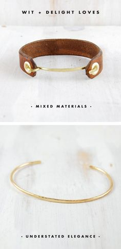 gorgeous jewelry from fail + canoe. Love the leather and gold together.
