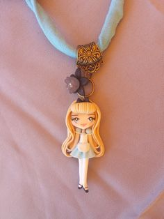 Necklace alice in wonderland fimo, polymer clay