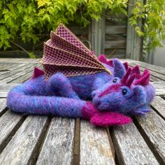 Needle felted purple dragon £50.00 Beautiful Gifts, Pink Silk, Silk Fabric, Bright Pink, Needle Felting, Gifts For Friends, Overlays, Sculpting, Wings