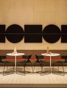 Arper Salone del Mobile Milano 2015 / Parentesit wall panels, Zinta bench, Dizzie tables, Saya chairs