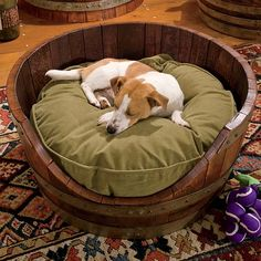 Just found this Round Wooden Dog Bed - Wine Barrel Dog Bed -- Orvis on Orvis.com!