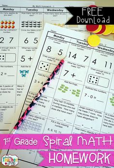 FREE! First Grade Spiral Math Homework. 1st Grade Math {Common Core} 2 Weeks FREE!  This FREE product contains 2 weeks of Common Core math homework sheets covering the first two weeks of 1st grade! Each homework sheet also comes with a Show Your Work/Progress Page, and ANSWER SHEET (6 pages total).  Good visual structure included for students who have more learning challenges.Download at…