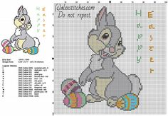 Disney Thumper with colored Easter eggs free cross stitch pattern 84 x 94 14 DMC colors