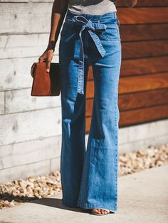 For Sale - blue Tie Waist Flare Jeans Women Slim Denim Trousers Vintage Clothes 2019 spring High Waist Pants Belted Stretchy wide leg jean Ripped Jeggings, Ripped Skinny Jeans, Wide Leg Jeans, Slim Jeans, Outfit Jeans, Jeans Denim, Jeans Pants, Khaki Pants, Jeans Palazzo