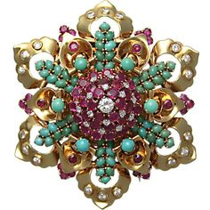 Preowned John Rubel Co. Turquoise, Ruby & Diamond Flower Brooch (158.585 BRL) ❤ liked on Polyvore featuring jewelry, brooches, multiple, green turquoise jewelry, cabochon jewelry, ruby jewellery, flower broach y turquoise brooch