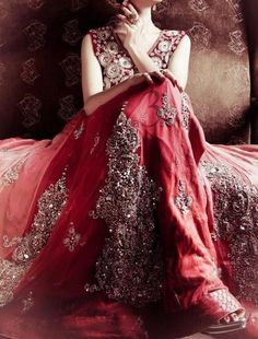 Beautiful silver embroidered lace over red chiffon.  #EveningWear #VonGiesbrechtJewels