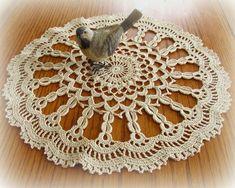 Crochet Doily in Ecru--Pretty Pointed Pineapple Cotton Crochet, Thread Crochet, Crochet Doilies, Crochet Flowers, Pear Blossom, Crochet Flower Tutorial, Circular Pattern, Scalloped Edge, Light Colors