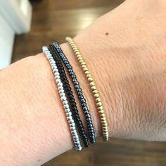 The Classic 4 Individual Beaded Bracelet Set Stretch | Etsy Summer Bracelets, Layered Bracelets, Summer Jewelry, Ankle Bracelets, Stretch Bracelets, Macrame Bracelet Patterns, Jewelry Patterns, Bracelet Designs, Jewelry Ideas