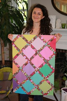 solid blocks, printed sashing-very different! #LetsQuilt
