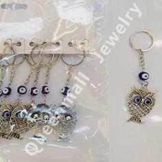 Men Women Metal Evil Eye Owl Hand of Fatima Pendant Key Chain Car Keyring Bush