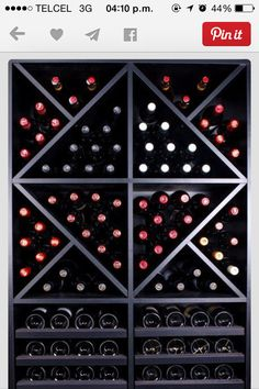 Save a lot of money by buying our completed wine rack. Consists of 6 GOMEZ wine rack modules. Wine Shelves, Wine Storage, Vino Merlot, Wine Cellar Racks, Home Wine Cellars, Wine Cellar Design, Wine Display, Wine Wall, Wine Cabinets