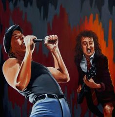ACDC - 'Those about to rock' Original artwork depicting a younger Brian and Angus belting out the notes. (When Angus still had hair...)