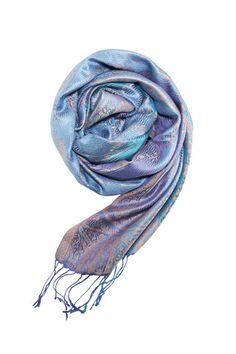 Pashmina tørklæde i blå i 100% silke - Besos