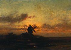 Jules Dupré, Le moulin à vent, ca 1850, olieverf op doek, 64 x 92 cm, The Cleveland Museum of Art, Cleveland. Biografie Dupré: http://www.artsalonholland.nl/grote-meesters-kunstgeschiedenis/jules-dupre