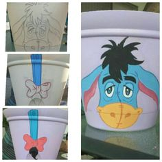 Eeyore!!! Painted on a flower pot for lavender!