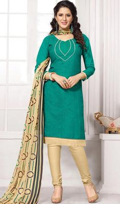 Admiration is destined to be in the cards when you are dressed in this sea green and beige color shade cotton churidar suit. This enticing attire is showing some terrific embroidery done with lace and resham work. #turquisecolordress #fancycasualwear #indiansuits