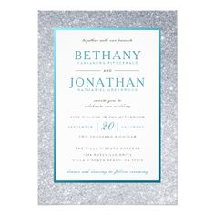 Teal and Silver Glitter Wedding Invitation