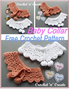 Baby Crochet Collar - A cute little crocheted collar that you can add to any baby outfit. Add it to a cute dress or a cardigan. The free baby crochet pattern is below in UK and USA formats, just scroll down to get it. All Free Crochet, Crochet For Kids, Crochet Collar Pattern, Crochet Patterns, Crochet Baby Cardigan, Crochet Doll Clothes, Free Baby Stuff, Baby Patterns, Crochet Projects