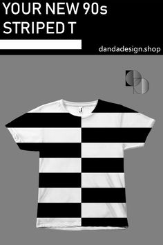Apr 2020 - Crossing and 2020 style, this black and white striped shirt is perfect for casual wear and street wear. Black and white fashion, however you want to wear it. Casual Wear, Casual Outfits, Monochrome Outfit, Black And White T Shirts, 90s Outfit, Retro Shirts, Bold Stripes, White Fashion, 1990s Style