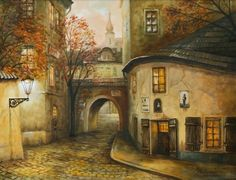 Fantasy City, Butterfly Pictures, Romanesque, Coups, Case, Old Houses, Landscape Paintings, Folk Art, Art Projects