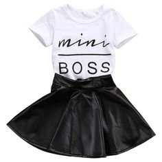 2017 New Fashion Toddler Kids Girl Clothes Set Summer Short Sleeve Mini Boss T-shirt Tops   Leather Skirt 2PCS Outfit Child Suit